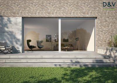 Vetrate Scorrevoli tutto vetro con profili in Alluminio. Massima illuminazione possibile ed efficienza energetica.